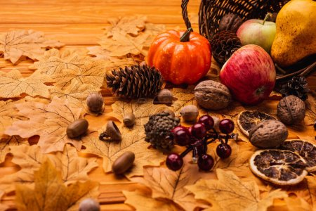 Photo pour Autumnal decoration and food scattered from wicker basket on golden foliage on wooden background - image libre de droit
