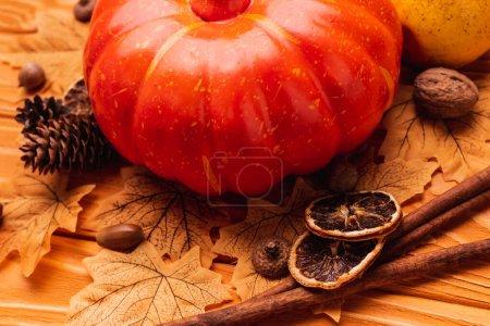pumpkin with autumnal decoration on wooden background