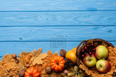 Photo pour Top view of autumnal harvest in basket and foliage on blue wooden background - image libre de droit