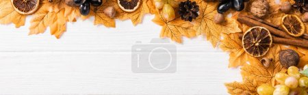 Photo for Top view of autumnal decoration on white wooden background, panoramic shot - Royalty Free Image