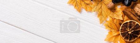 Photo pour Vue de dessus de la décoration automnale sur fond blanc en bois, vue panoramique - image libre de droit
