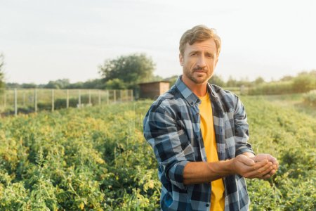 Photo for Farmer in plaid shirt looking at camera while holding young plant in cupped hands - Royalty Free Image