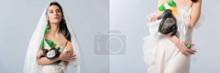 Photo pour Collage de jeune femme avec sac plastique sur la tête debout en robe de soie avec des bouteilles vides isolées sur gris, concept écologie - image libre de droit