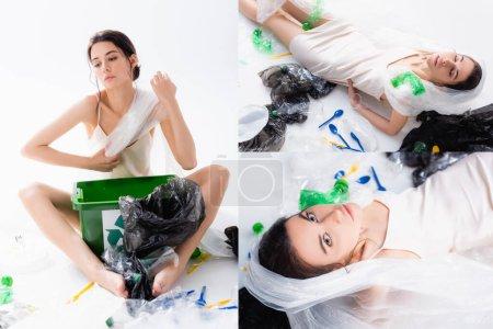 Collage einer barfüßigen Frau im Seidenkleid, die neben Plastiktüten, Flaschen und Mülltonnen sitzt, mit Recyclingschild auf weißem Grund, ökologisches Konzept