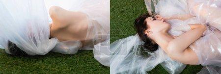 Collage aus jungen, in Polyethylen eingewickelten Modellen, die auf Gras liegen, ökologisches Konzept