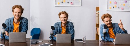 Photo for Collage of redhead broadcaster showing idea gesture and looking at camera near microphone and laptop, horizontal image - Royalty Free Image