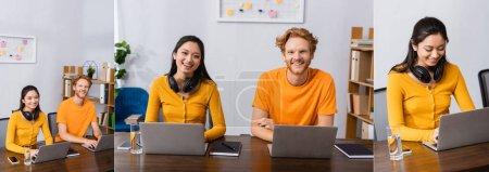 collage de freelancers interracial trabajando en computadoras portátiles y mirando a la cámara en casa, cosecha horizontal
