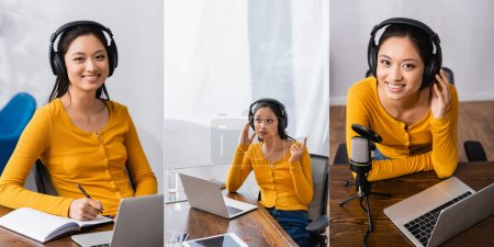 Photo for Collage of asian broadcaster in wireless headphones writing in notebook, showing idea gesture and looking at camera, panoramic crop - Royalty Free Image