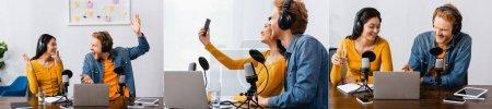 collage de emisoras interraciales excitadas en auriculares inalámbricos gesticulando y tomando selfie en el lugar de trabajo, concepto horizontal