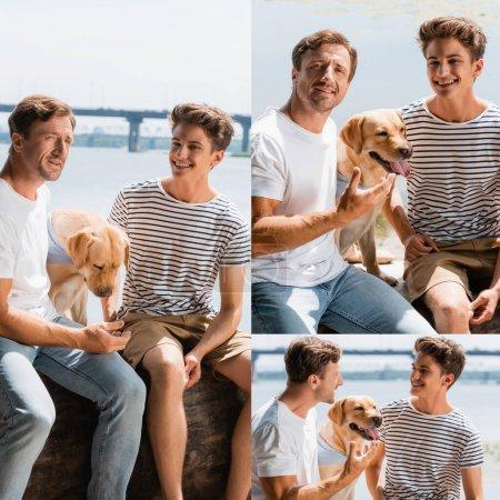 Photo pour Collage de père et fils assis avec golden retriever près du lac - image libre de droit