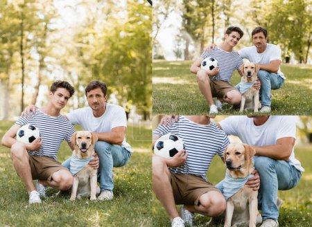 Photo pour Collage de père et fils avec le football assis sur l'herbe près golden retriever - image libre de droit