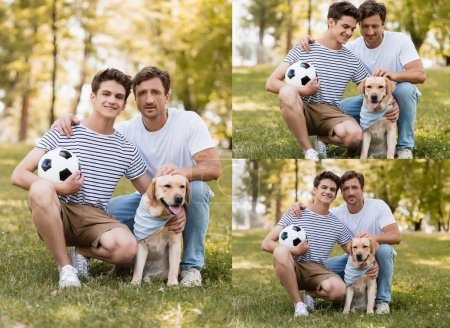 Photo for Collage of father and son with football sitting on grass and cuddling golden retriever - Royalty Free Image