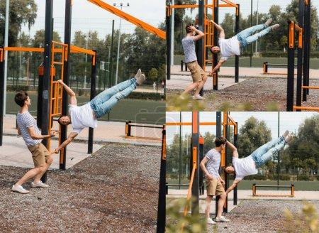 collage de padre ejercitándose en barras horizontales cerca de hijo adolescente fuera
