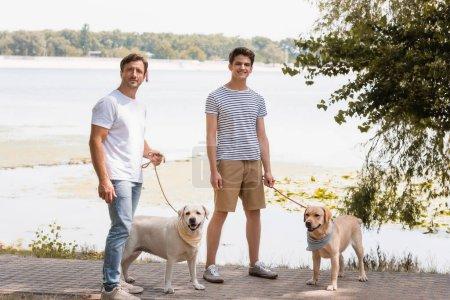 Photo pour Père et fils adolescent tenant des laisses et debout avec des récupérateurs d'or près du lac - image libre de droit