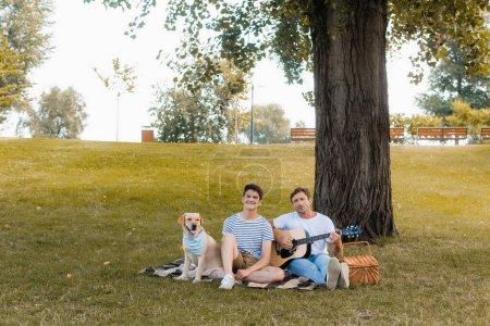 Photo pour Père et adolescent garçon assis sur couverture près golden retriever sous tronc d'arbre - image libre de droit