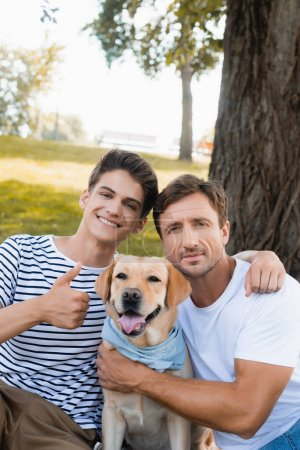 teenager boy showing thumb up while hugging father near golden retriever