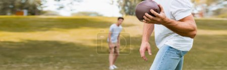 panoramic crop of man throwing rugby ball to son in park