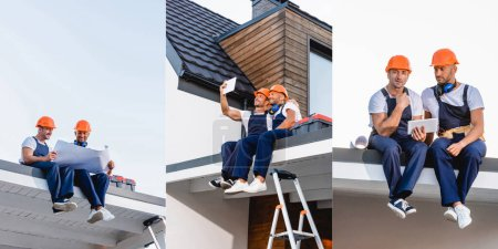 Photo pour Collage of builders taking selfie with digital tablet and holding blueprint on roof of building - image libre de droit