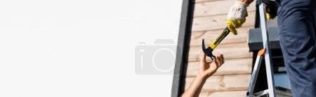 Photo pour Panoramic shot of builder giving hammer to colleague while working on ladder near building isolated on white - image libre de droit