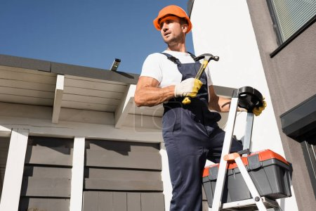 Builder in overalls and gloves holding hammer beside toolbox on ladder and building