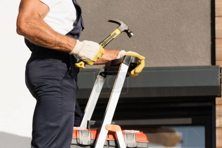 Photo for Cropped view of builder holding hammer while standing near toolbox on ladder and building - Royalty Free Image
