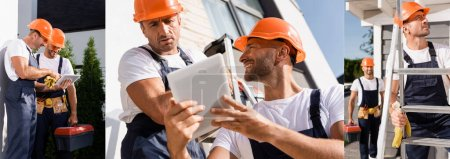 Photo for Collage of builders using digital tablet and working on ladder near building - Royalty Free Image