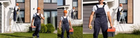 Photo pour Collage du constructeur avec boîte à outils montrant ok geste sur la pelouse près du bâtiment - image libre de droit