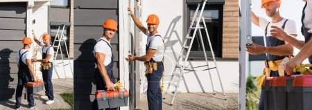 Photo pour Collage of builders with tools using spirit level on facade of house - image libre de droit