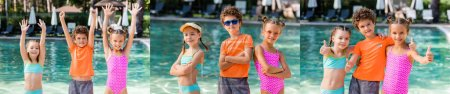 Photo for Collage of curly boy and girls in swimsuits standing with hands in air, crossed arms, showing thumbs up near pool, panoramic shot - Royalty Free Image