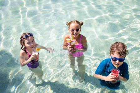 Photo for High angle view of joyful friends drinking fresh fruit cocktails in swimming pool - Royalty Free Image