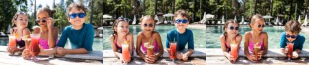 Photo pour Collage of girls and boy in sunglasses with fresh fruit cocktails near swimming pool, horizontal image - image libre de droit
