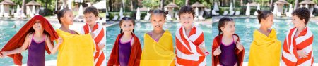 Photo pour Collage of friends wrapping in colorful terry towels near swimming pool, panoramic shot - image libre de droit