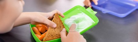 Photo for Cropped view of schoolgirl taking toast from lunch box with fresh carrots, horizontal concept - Royalty Free Image