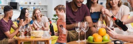 Photo pour Collage de jeune homme versant du vin rouge près d'amis multiculturels excités, culture panoramique - image libre de droit
