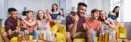 collage d'amis multiculturels excités chantant du karaoké pendant la fête, en-tête du site