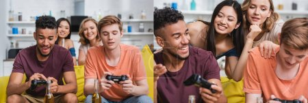 Photo for KYIV, UKRAINE - JULY 28, 2020: collage of multiethnic friends playing video game during party, horizontal image - Royalty Free Image