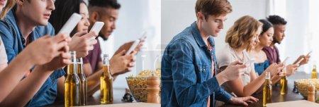 Photo pour Collage d'amis multiethniques bavardant sur des téléphones mobiles pendant la fête, en-tête du site - image libre de droit