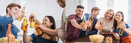 Foto de Collage de amigos multiétnicos excitados tintineando botellas de cerveza y mirando a la cámara durante la fiesta, concepto panorámico - Imagen libre de derechos