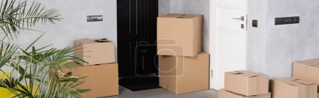 Photo for Panoramic crop of carton boxes near plant in new home, moving concept - Royalty Free Image