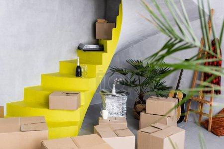 selektiver Fokus von Kartons und Champagnerflaschen auf gelben Treppen in der Nähe von Pflanzen und Akustikgitarre in modernen Wohnungen
