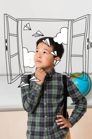 Dreamy asian schoolboy looking away near window and paper planes illustration