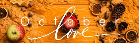 Photo for Top view of burning candle with autumnal decoration near october love lettering on wooden background, panoramic crop - Royalty Free Image