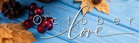 Photo pour Concept panoramique de feuilles automnales, baies, glands et cônes près d'octobre amour lettrage sur fond de bois bleu - image libre de droit