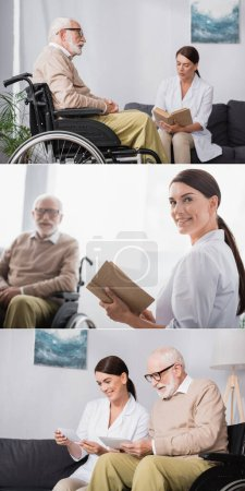 collage of geriatric nurse reading book to disabled man and looking at family photo together