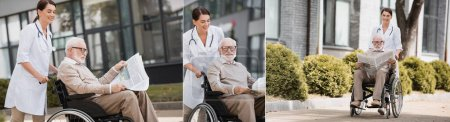 Photo for Collage of geriatric nurse walking with elderly disabled man on wheelchair reading newspaper outdoors, banner - Royalty Free Image