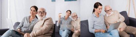 Photo pour Collage de femme brune utilisant un ordinateur portable et tenant la carte de crédit près de père âgé à la maison, bannière - image libre de droit