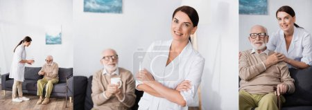 collage of brunette geriatric nurse caring about aged man and looking at camera, banner
