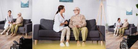 collage de travailleur social et homme âgé parlant assis sur le canapé à la maison, bannière
