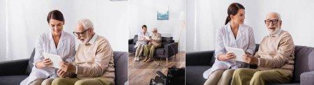 collage of geriatric nurse showing digital tablet to elderly man at home, banner