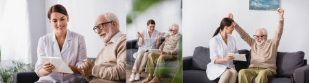 collage of social worker showing digital tablet to aged man while he showing winner gesture, banner
